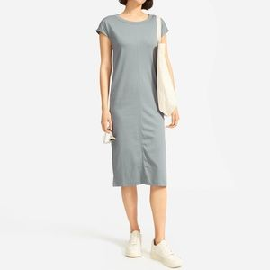 EVERLANE The Luxe Cotton Side Slit Tee Dress Sage